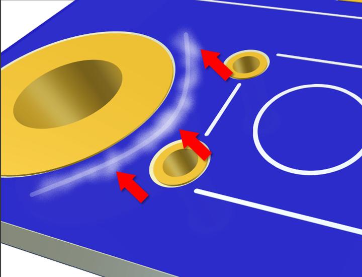 defecto aureolas en el PCB laminado