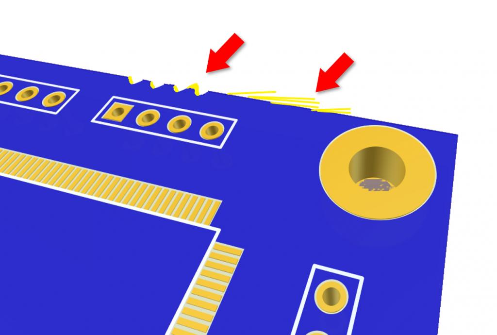 defectos en PCB deshilachado bordes asperos