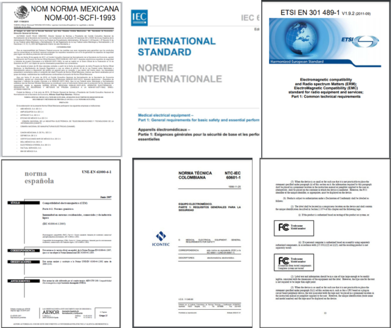 NOM Norma mexicana Norma IEC Norma NTC Norma ETSI Norma UNE Norma FCC